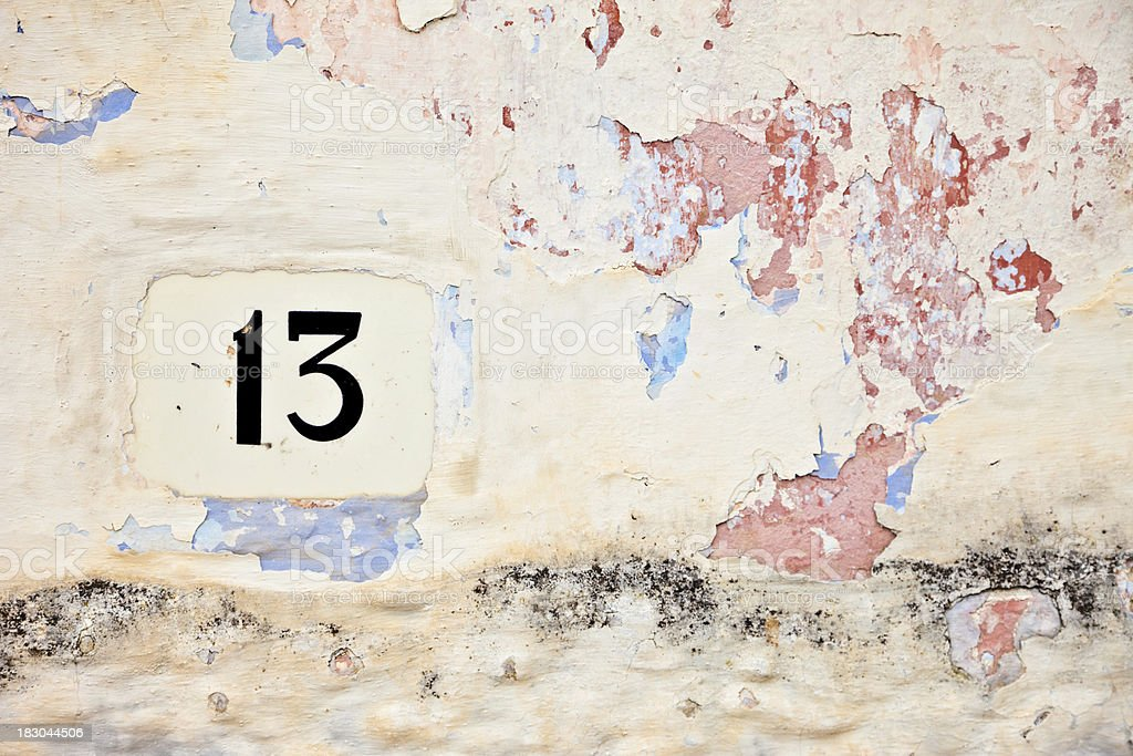 13, Street Number On The Wall royalty-free stock photo