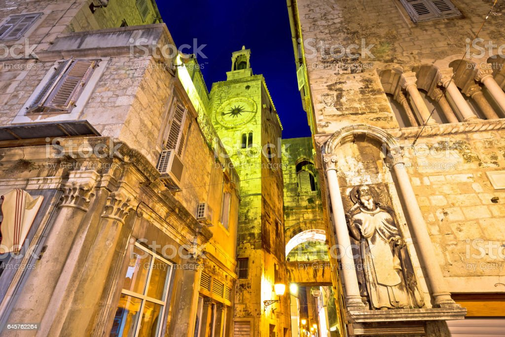 Street od Old Split stone architecture evening view, Dalmatia, Croatia stock photo