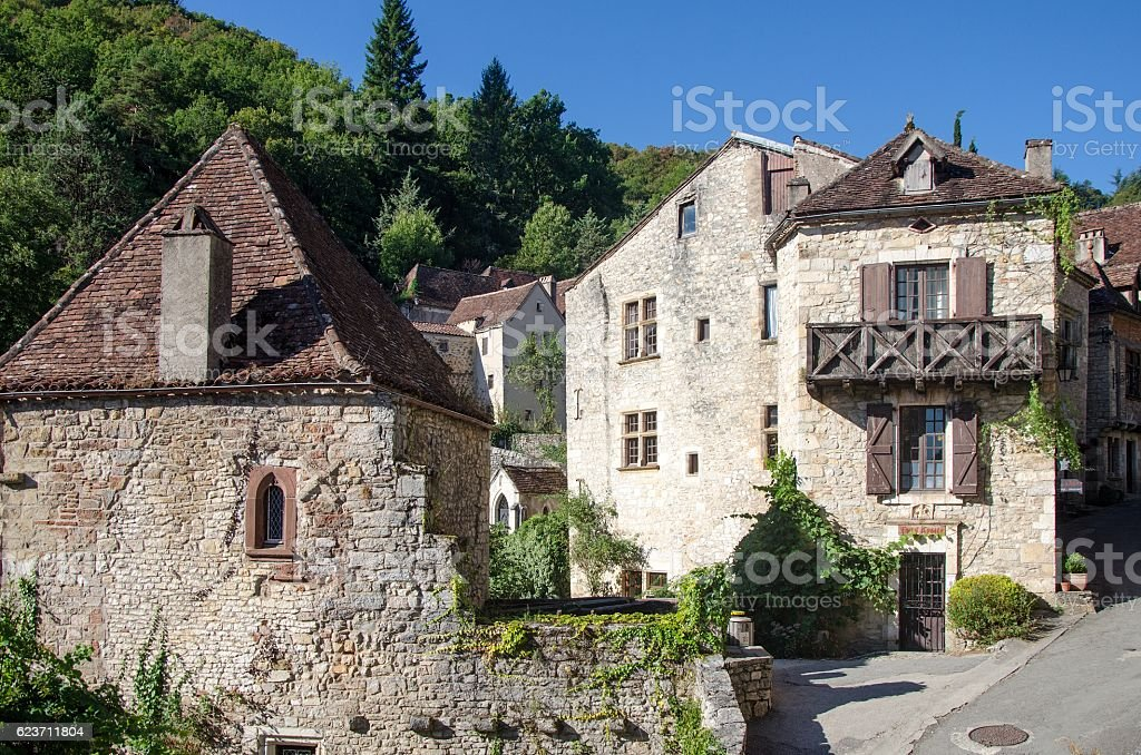 Street of a medieval french village stock photo