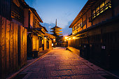Street Of A Traditional Japanese City, Kyoto