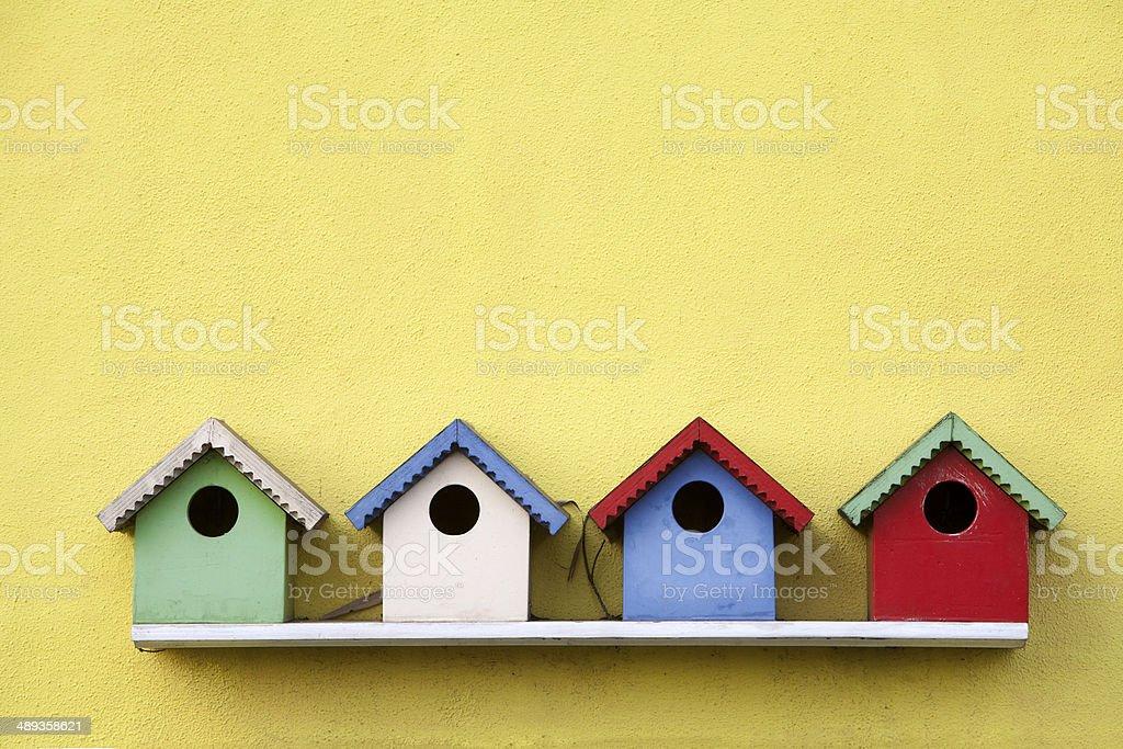 Street of birdhouses stock photo