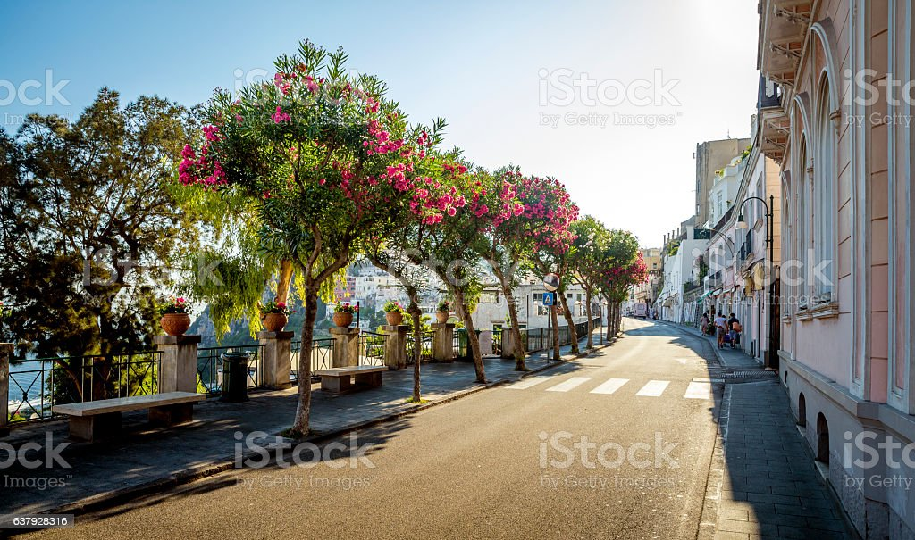 Street of Capri Town on Capri Island in Italy stock photo