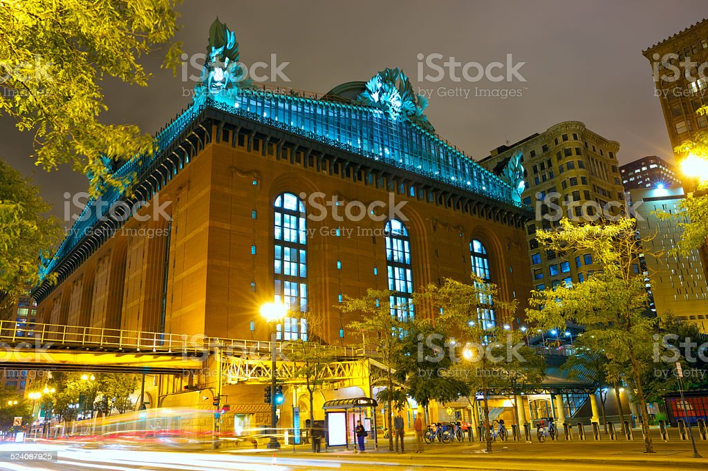 Street of Chicago at night stock photo