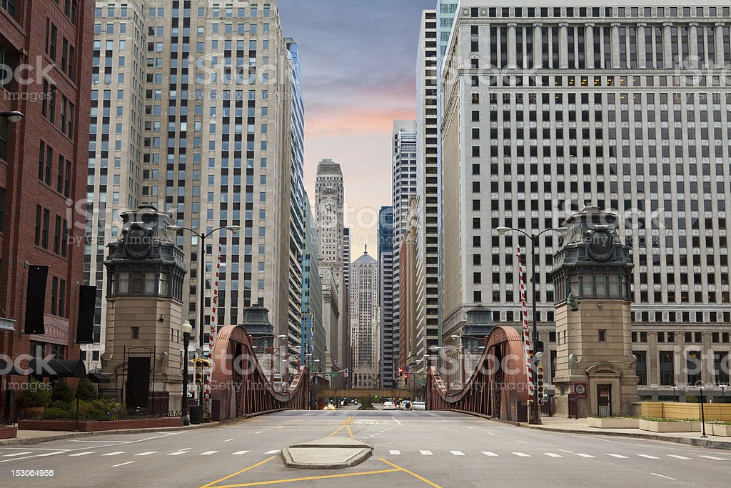 Street of Chicago. stock photo