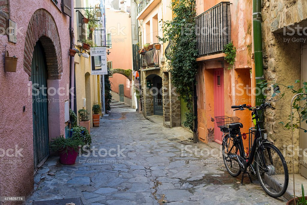 Street of Collioure in France stock photo