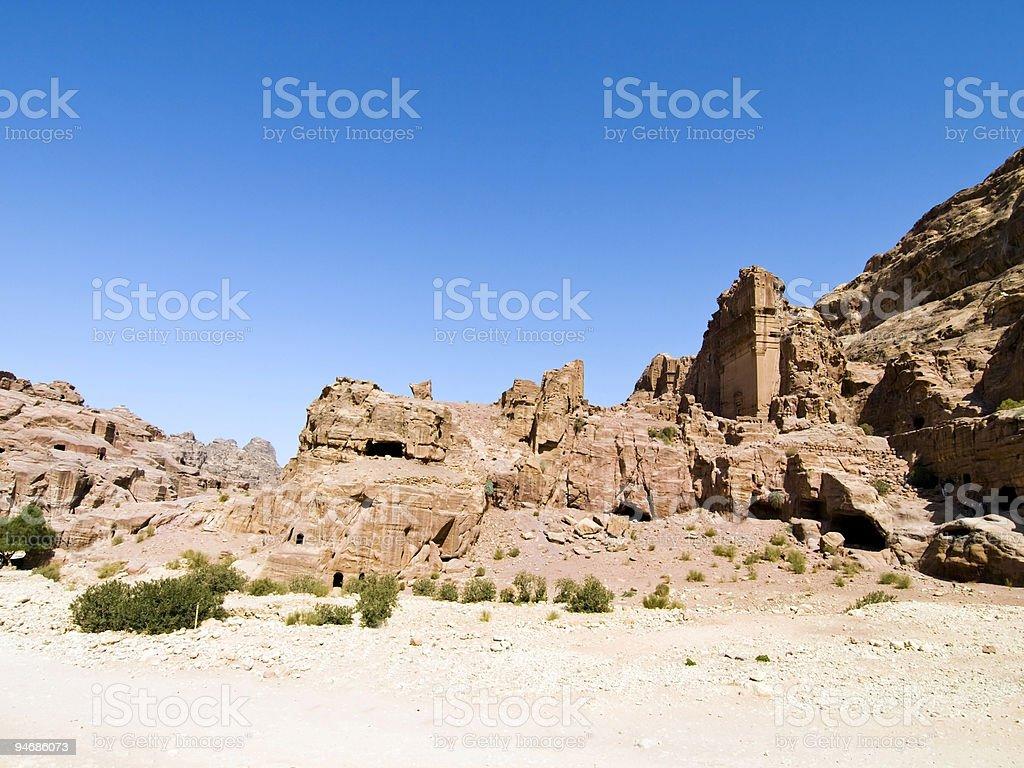Street of Facades, Petra Jordan royalty-free stock photo