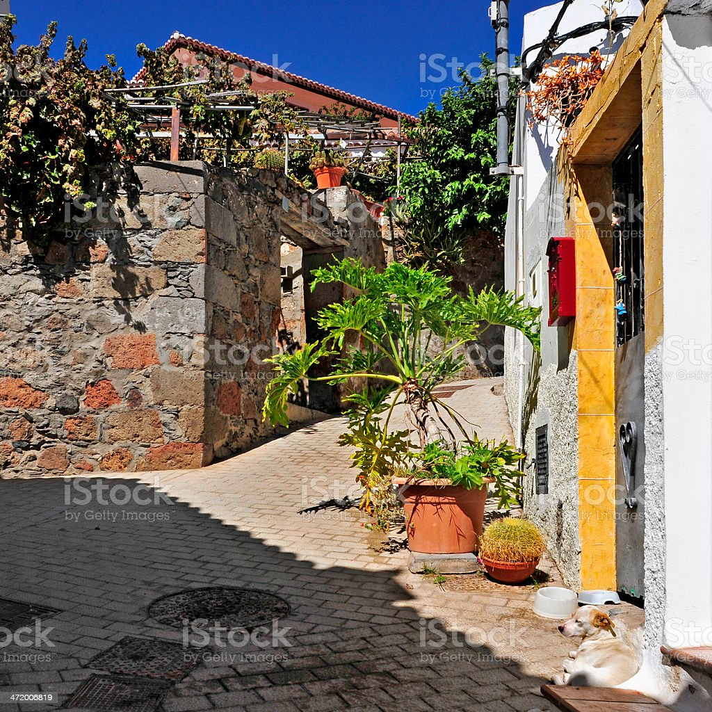street of Fataga, Gran Canaria, Spain stock photo