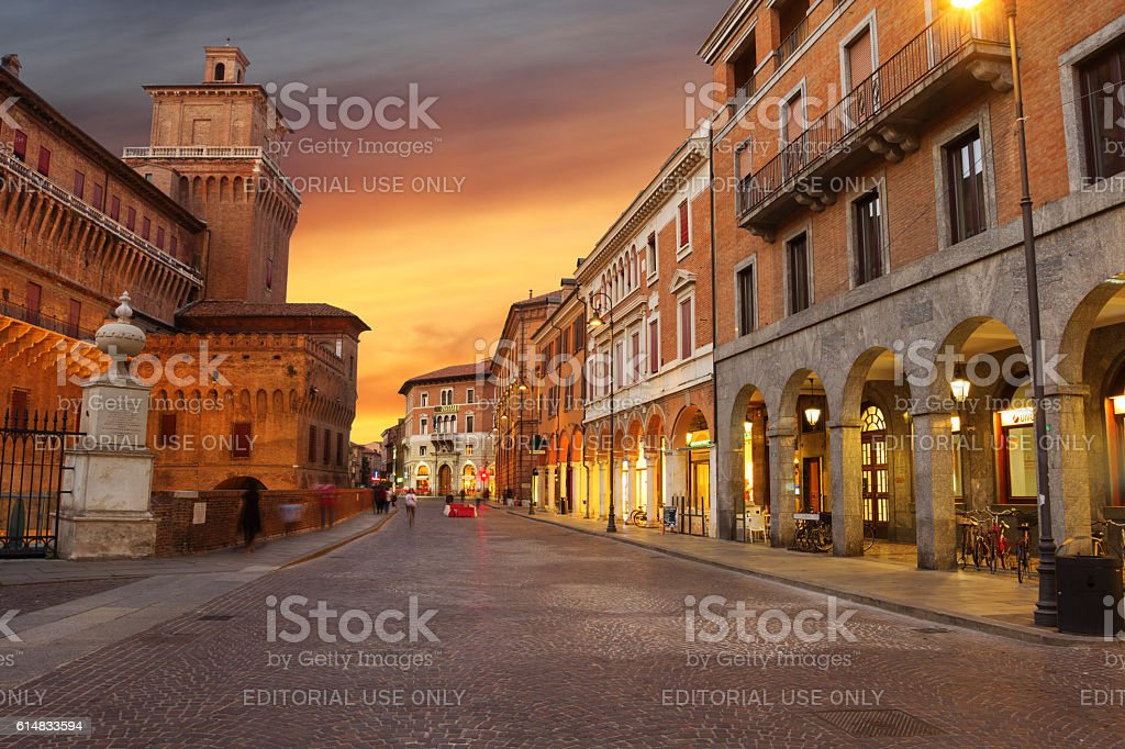 Street of Ferrara stock photo