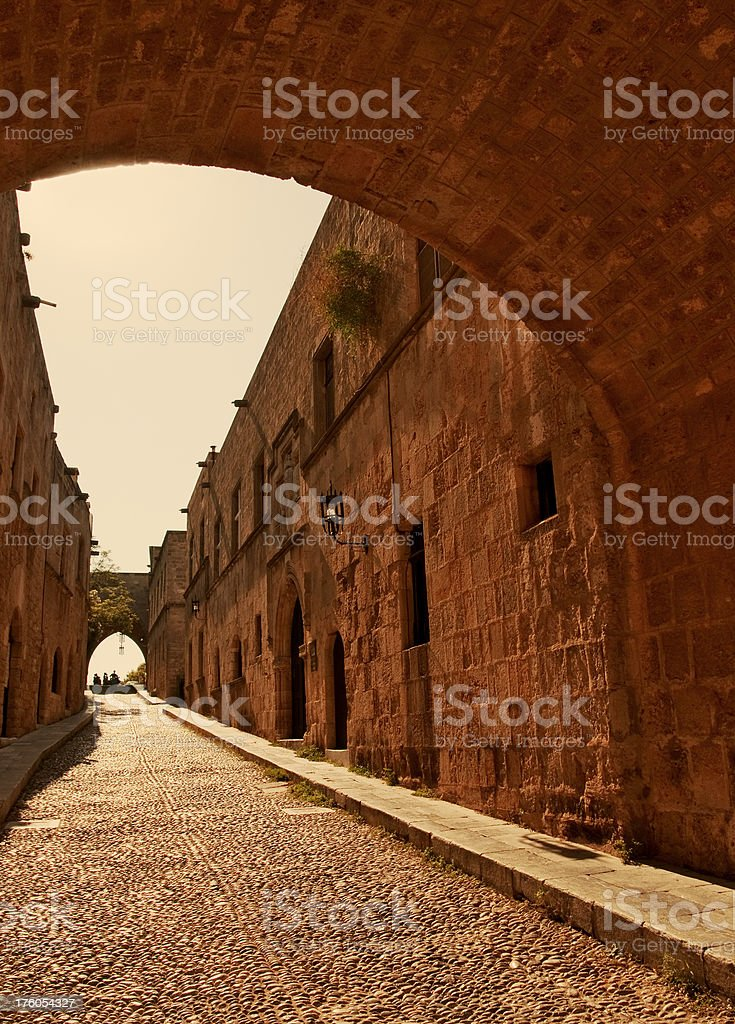 Street of Knights in Rhodes old town royalty-free stock photo