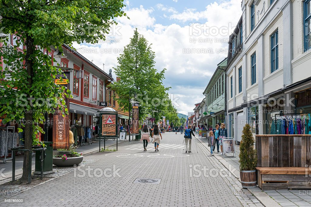 Street of Lillehammer, Norway. stock photo