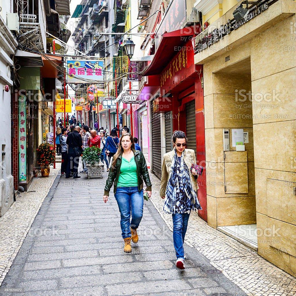 Street of Macau stock photo