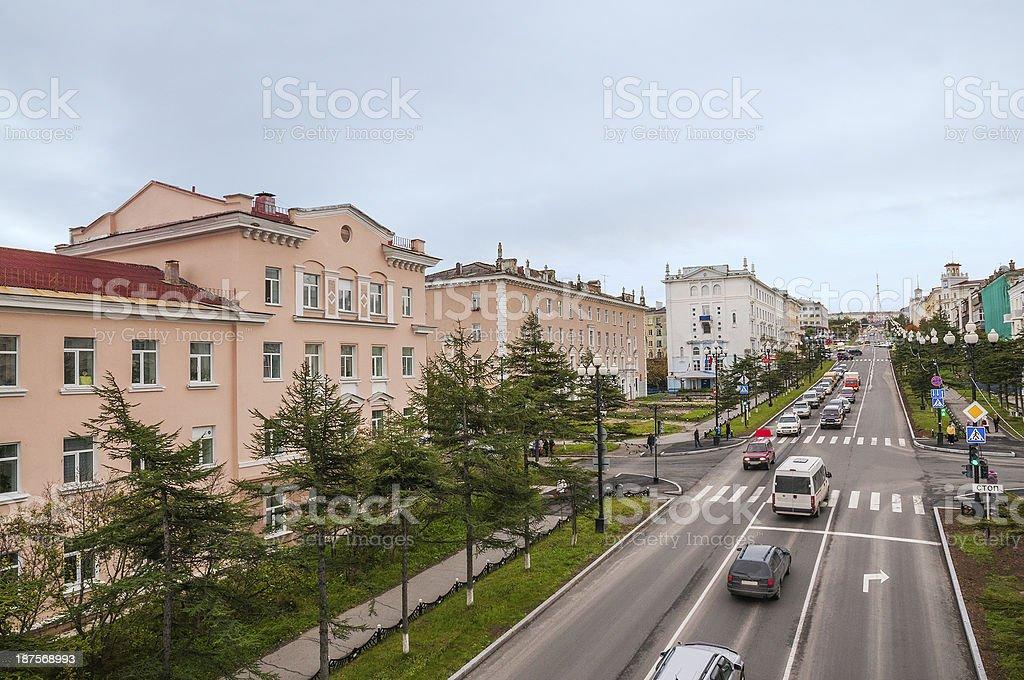 Street  of Magadan. Russia stock photo