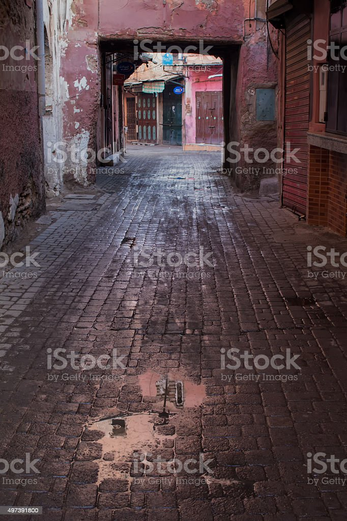 Street of Marrakesh after a rain stock photo