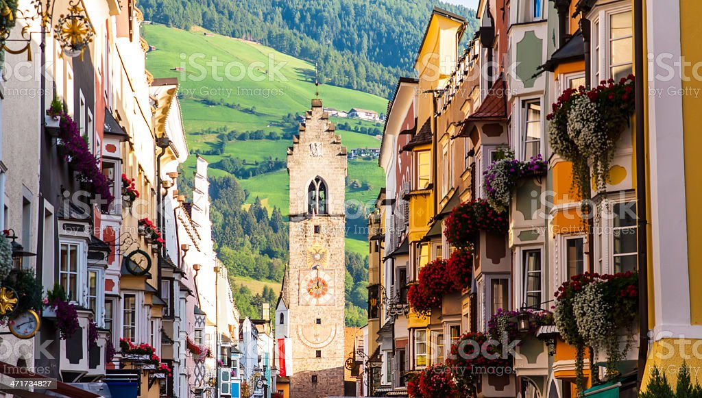 street of old europian town Vipiteno, Italy stock photo