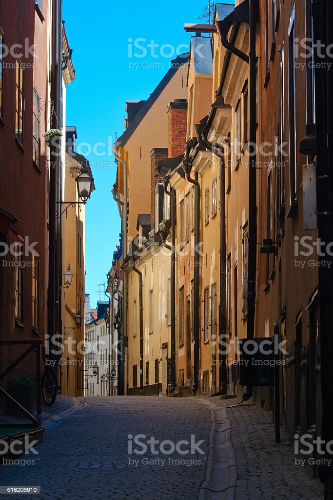 Street of old town. Stockholm stock photo