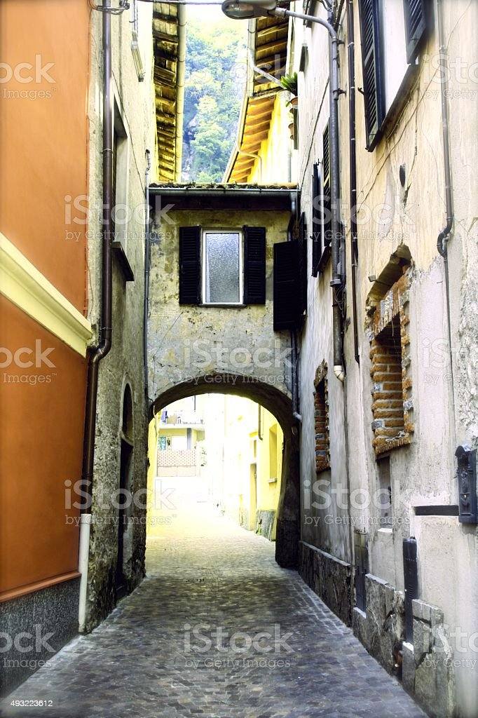 Street of Porlezza stock photo