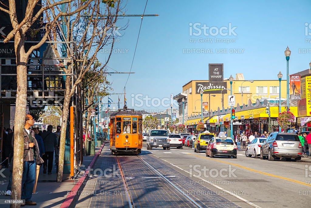 Street of San Francisco with an old fashioned cable car stock photo