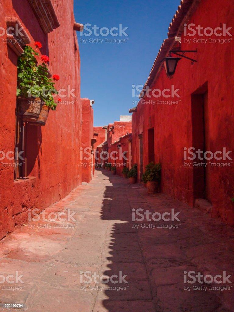 Street of Santa Catalina Monastery in Arequipa, Peru stock photo