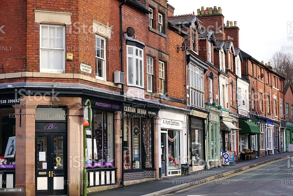 Street Of Shops In Leek, Staffordshire, England stock photo