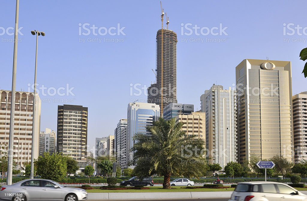 Street of skyscrapers in Abu-Dhabi royalty-free stock photo