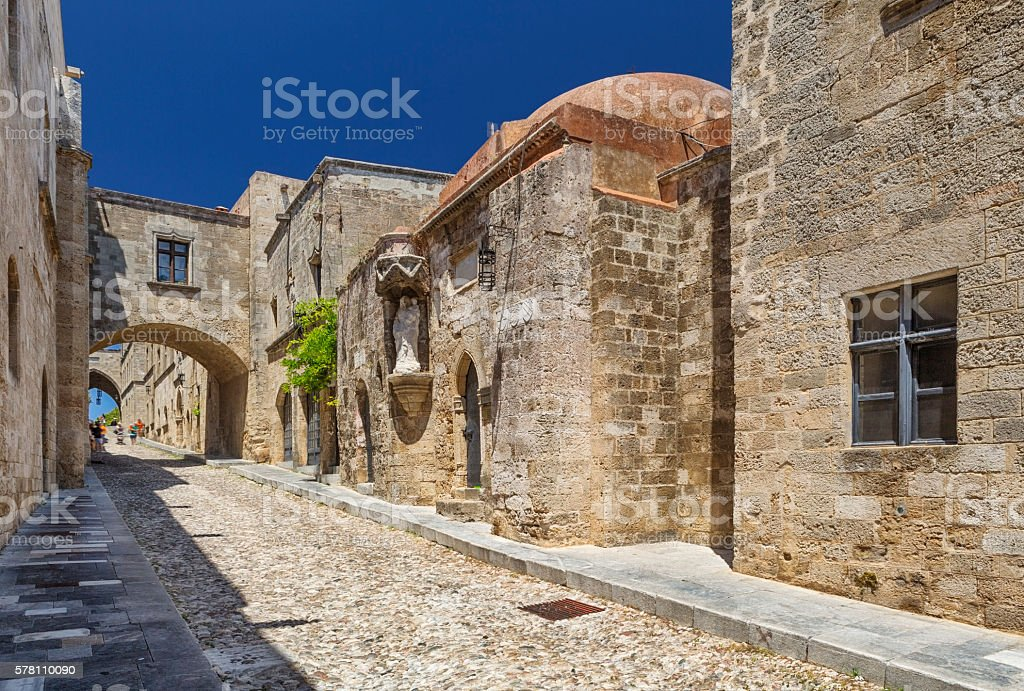 Street of the Knights, Medieval Town of Rhodes, Greece stock photo