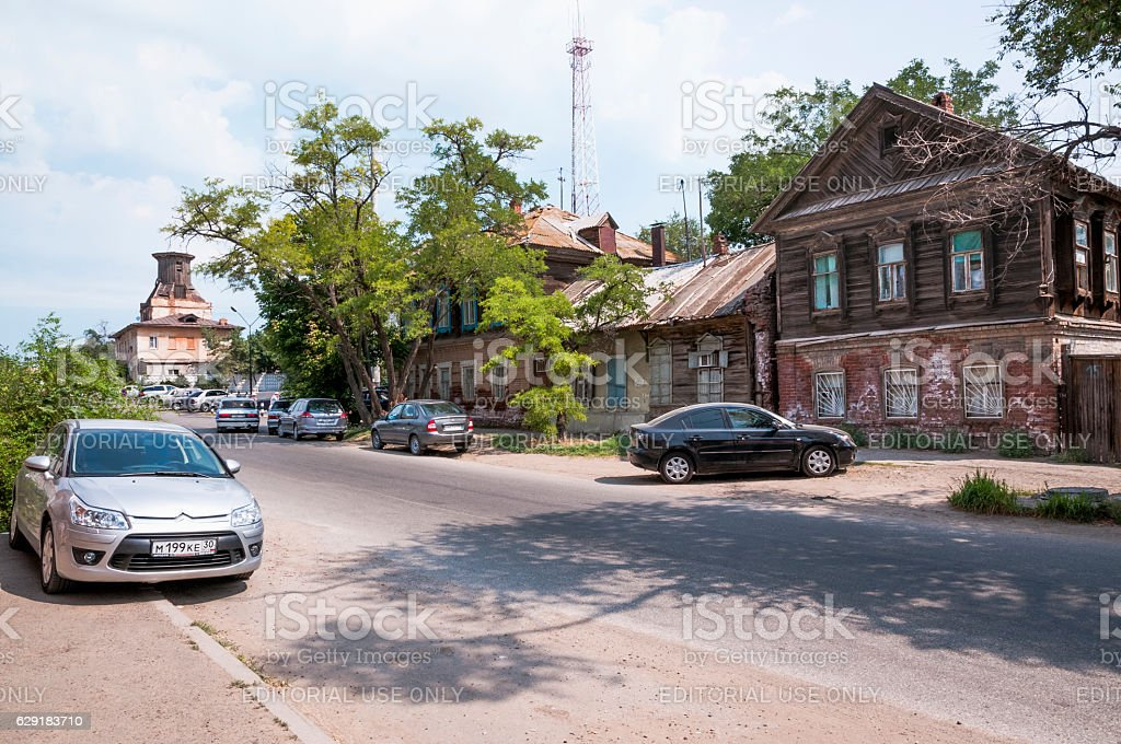 Street of the old town  Astrakhan in area   Tatar Bazaar stock photo