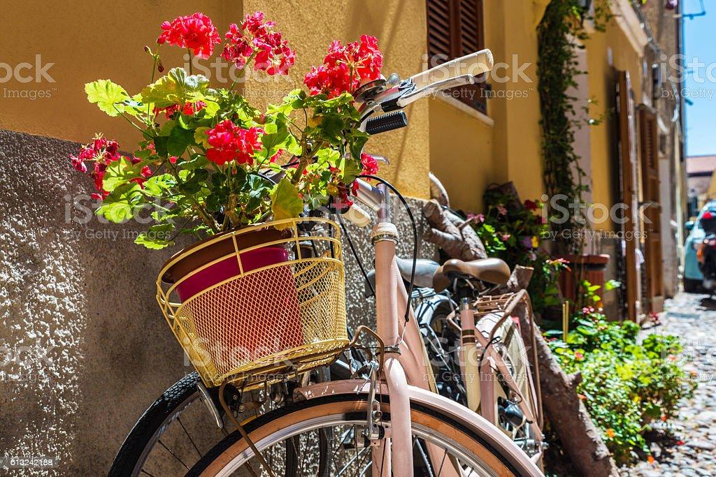 Street of the old town of Alghero, Sardinia, Italy stock photo