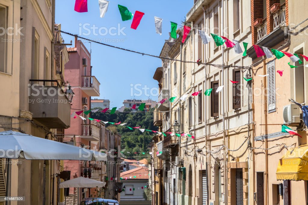Street of the Sennori town stock photo