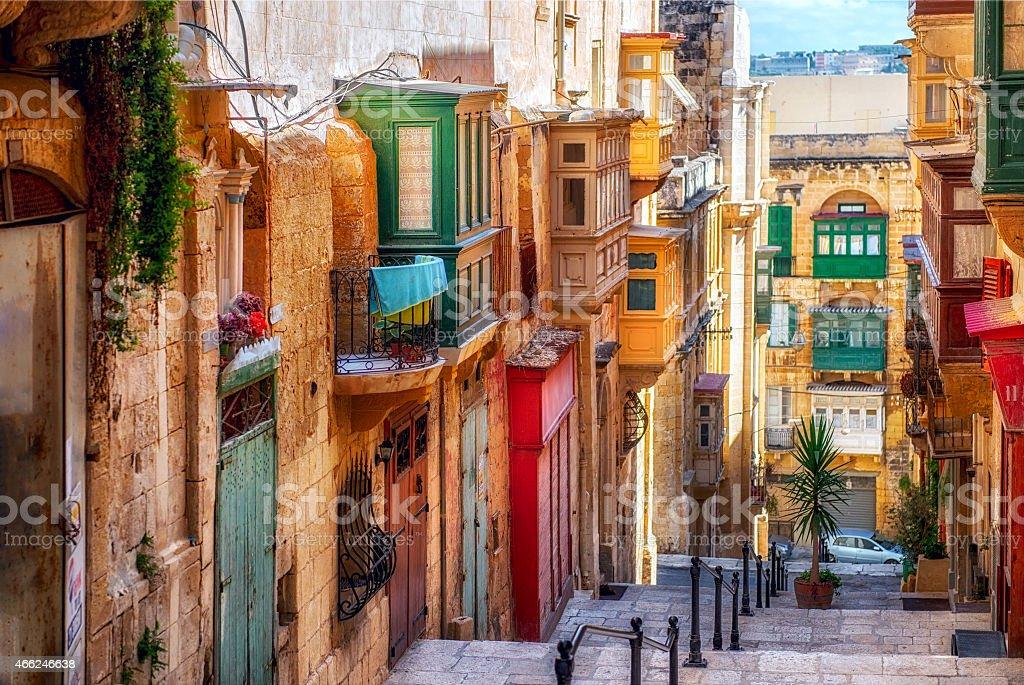 Street of Valletta town stock photo