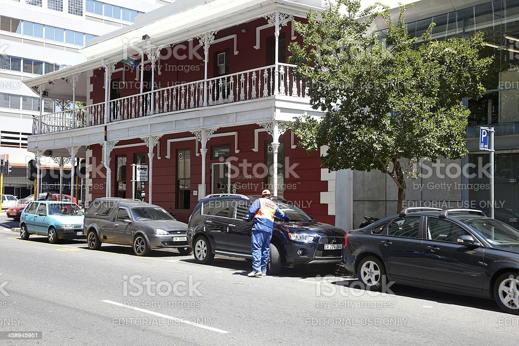 Street parking operative in Cape Town royalty-free stock photo