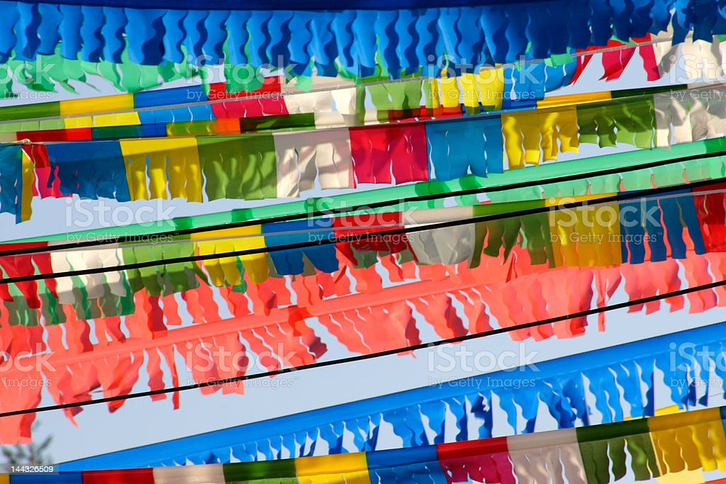 street party flags stock photo