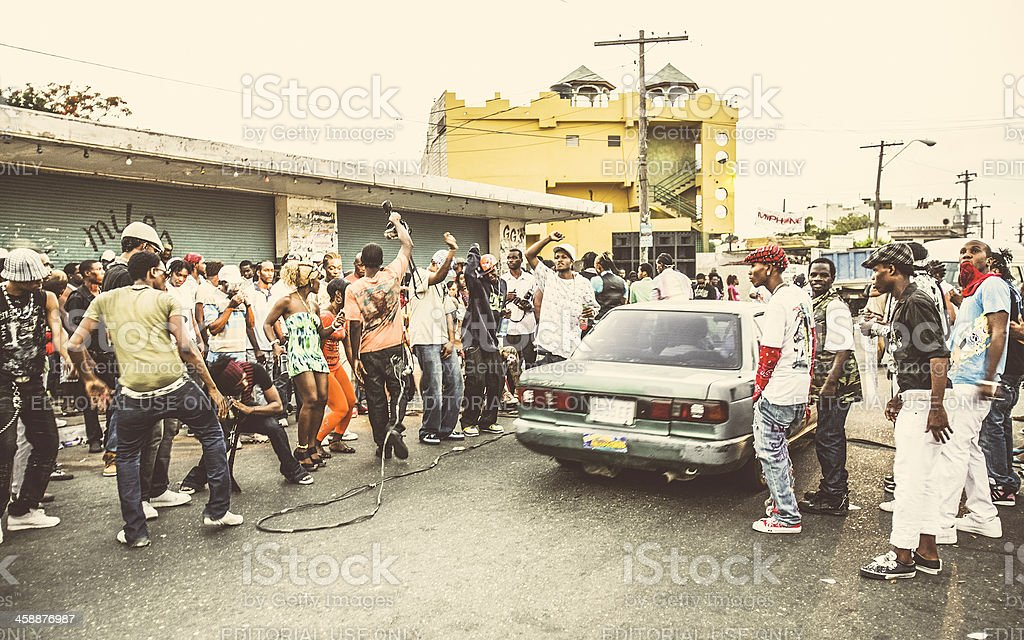 Street party in ghetto. stock photo