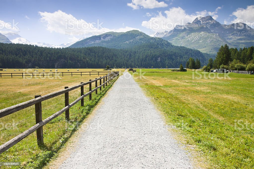 Street path in Engadine valley stock photo