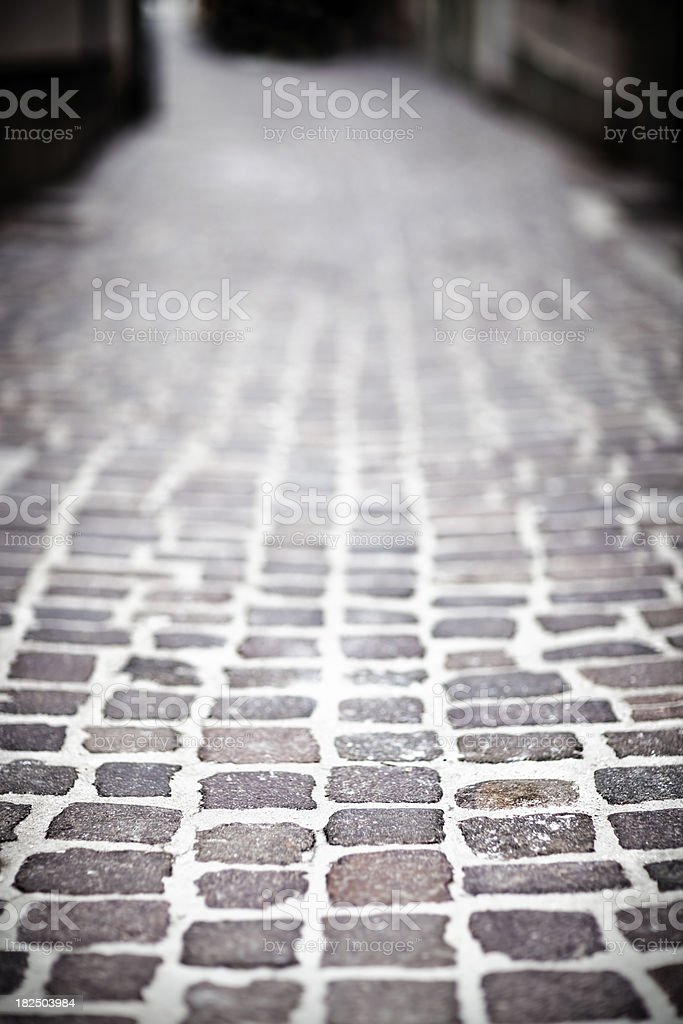 Street paved with granite setts royalty-free stock photo