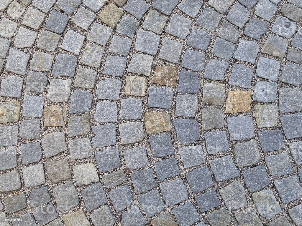 Street paved with Sampietrini blocks royalty-free stock photo