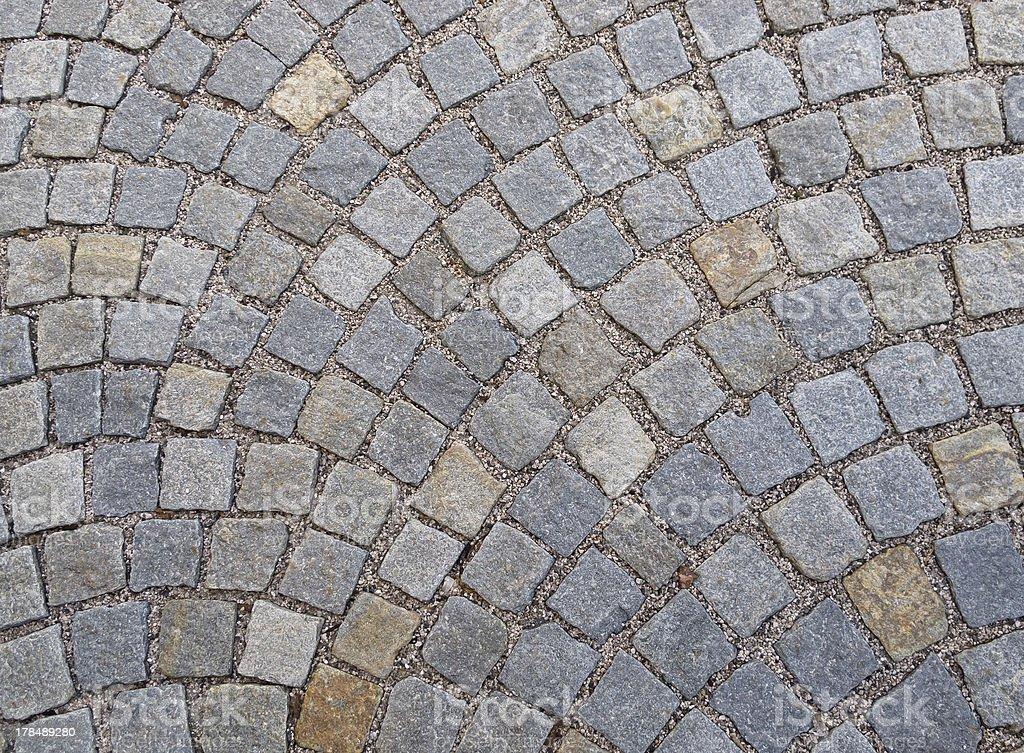Street paved with Sampietrini blocks royalty-free stock photo