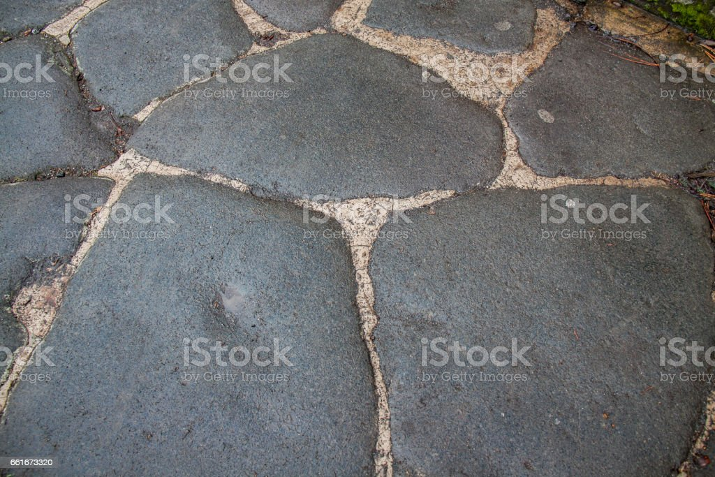 Street pavement in Pompeii, Italy. stock photo