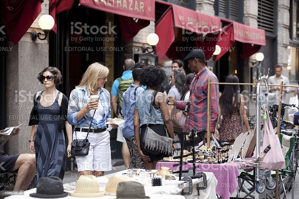 Street people in SoHo, Manhattan royalty-free stock photo