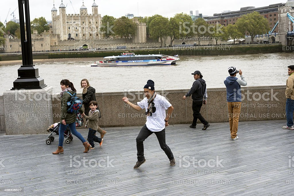 Street Performer and Tower of London, UK royalty-free stock photo