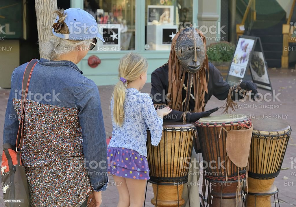 Street Performer at Historic Pearl Street Mall in Boulder Colorado stock photo