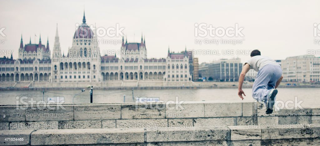 Street Performer, Budapest, Hungary royalty-free stock photo