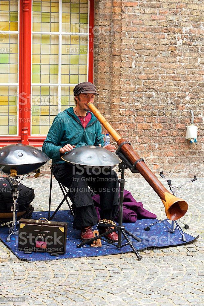 Artista di strada di Bruges foto stock royalty-free