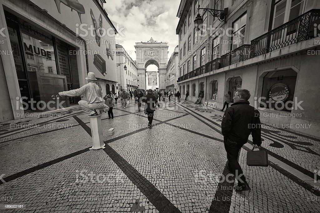 Street Performer in Lisbon stock photo