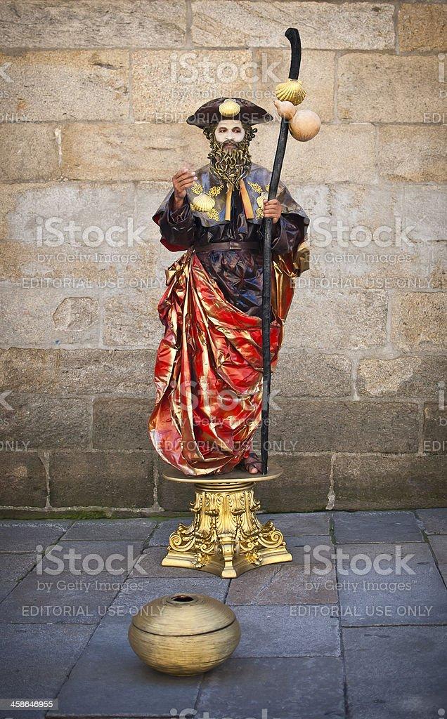 Street performer in Santiago de Compostela royalty-free stock photo