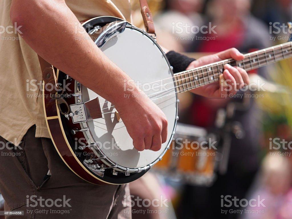 Street Performer Playing Banjo stock photo