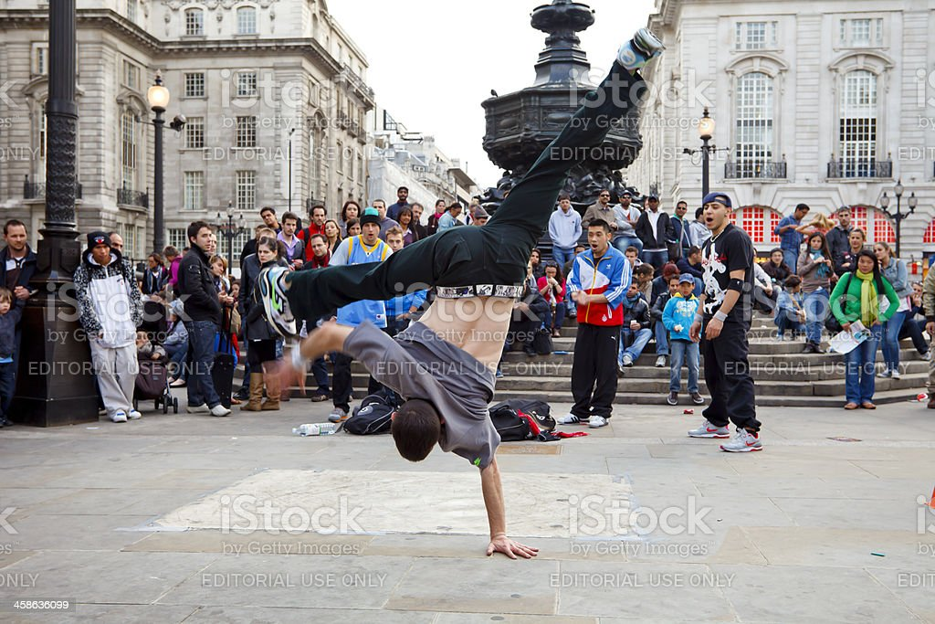 Street performers at the Piccadilly Circus stock photo