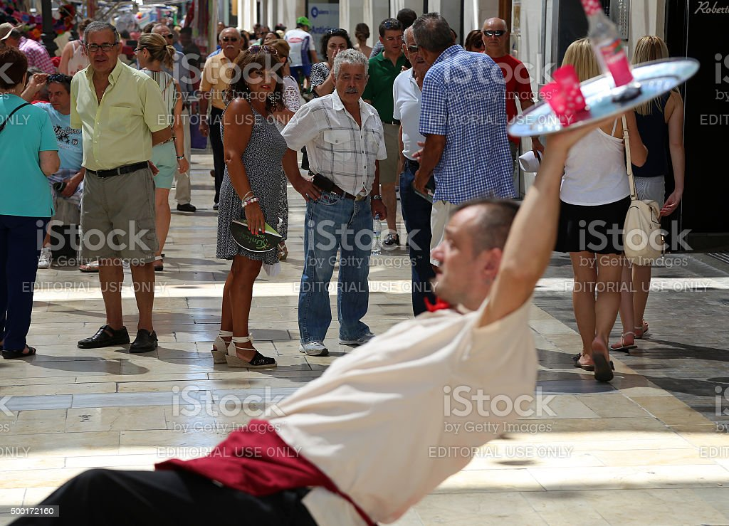 Street performers on the Larios street, Malaga, Andalusia, Spain stock photo
