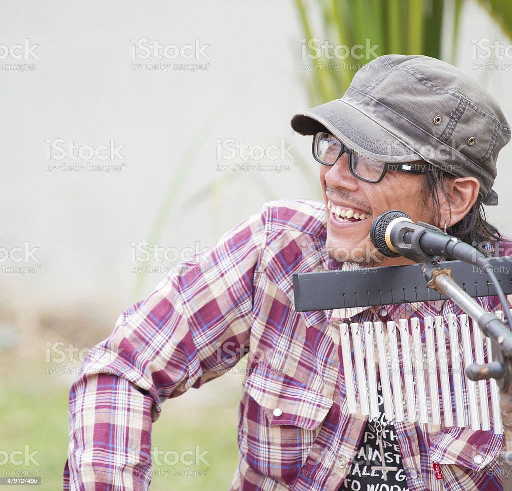 street performers with guitar, with folksong background royalty-free stock photo