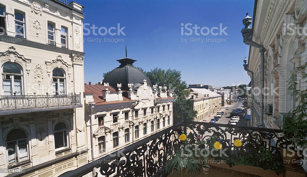 Street period of the 19th century . Astrakhan, Russia stock photo