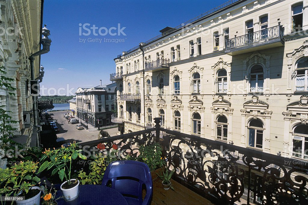 Street period of the 19th century . Astrakhan, Russia royalty-free stock photo